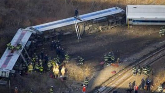 Scene of the Dec. 1 derailment in the Bronx.