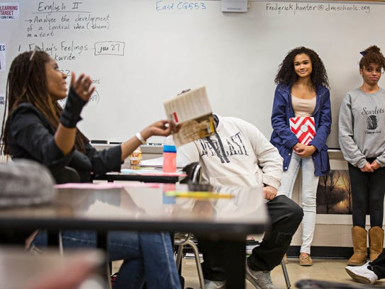 In an English class at East High School Feb. 26, 2016,