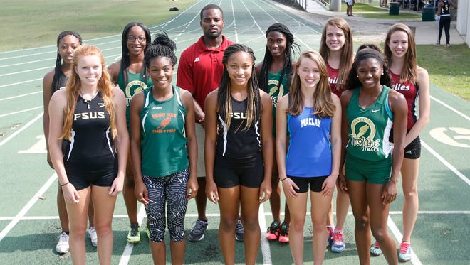 Girls Track individuals: Front row, L-R: Kelley Breedenâ (Florida High), Christianna Dogan (FAMU DRS), Field Athlete of the Year Adrianna Mitchell (Florida High), Caroline Willis (Maclay), Jadzia Beasley (Lincoln)Back row, L-R: Kyra Odum (Florida High), Briana Huff (Lincoln), Coach of the Year Tyrone McGriff (Florida High), Tamani Wilson (Lincoln), Track Athlete of the Year Alexandra Wallace (Chiles), Emma Tucker (Chiles); Not pictured: Lindsey Poole (Maclay), Dorian Solomon (Godby)