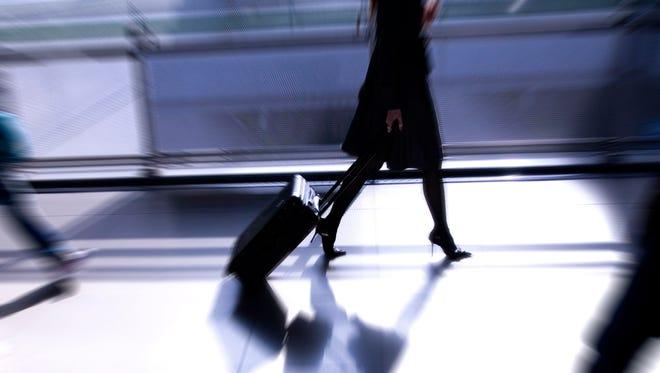 Person walks at airport.