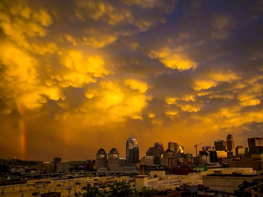 The sunset over downtown Cincinnati on Wednesday night