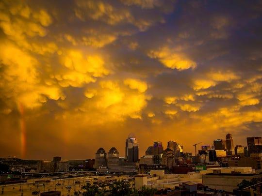 The sunset over downtown Cincinnati on Wednesday night