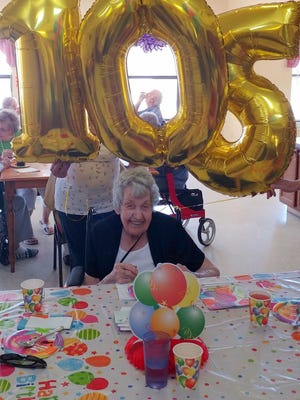 Ethel Root celebrated her 105th Birthday at Willow Manor Assisted Living Facility with family, staff and friends recently. Root has been a resident of Willow Manor since 2012 and was visited on her Birthday by her daughter-in-law and grandson. Root recalls the infancy of the automobile, telephone and the television.