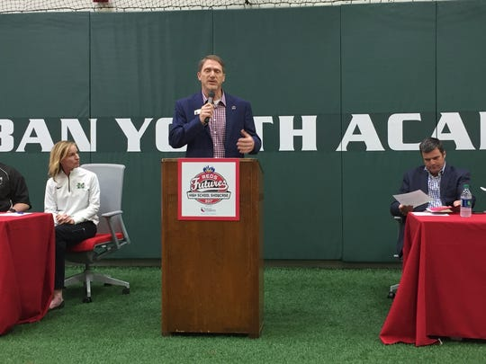 Reds Community Fund Director Charley Frank welcomes the crowd at the announcement of the 2017 Skyline Chilii Reds Futures High School Showcase games March 1.