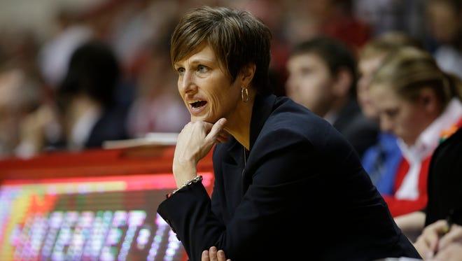 Indiana head coach Teri Moren coaches against Maryland.