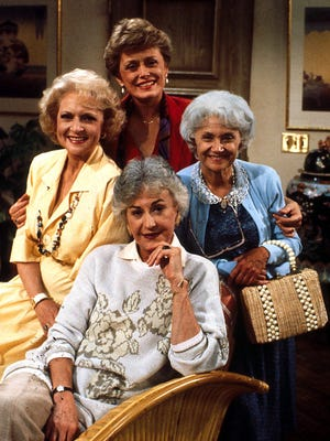 """Archive photo of Betty White, Beatrice Arthur, Estelle Getty and Rue McClanahan on the set of the television series """"Golden Girls."""""""