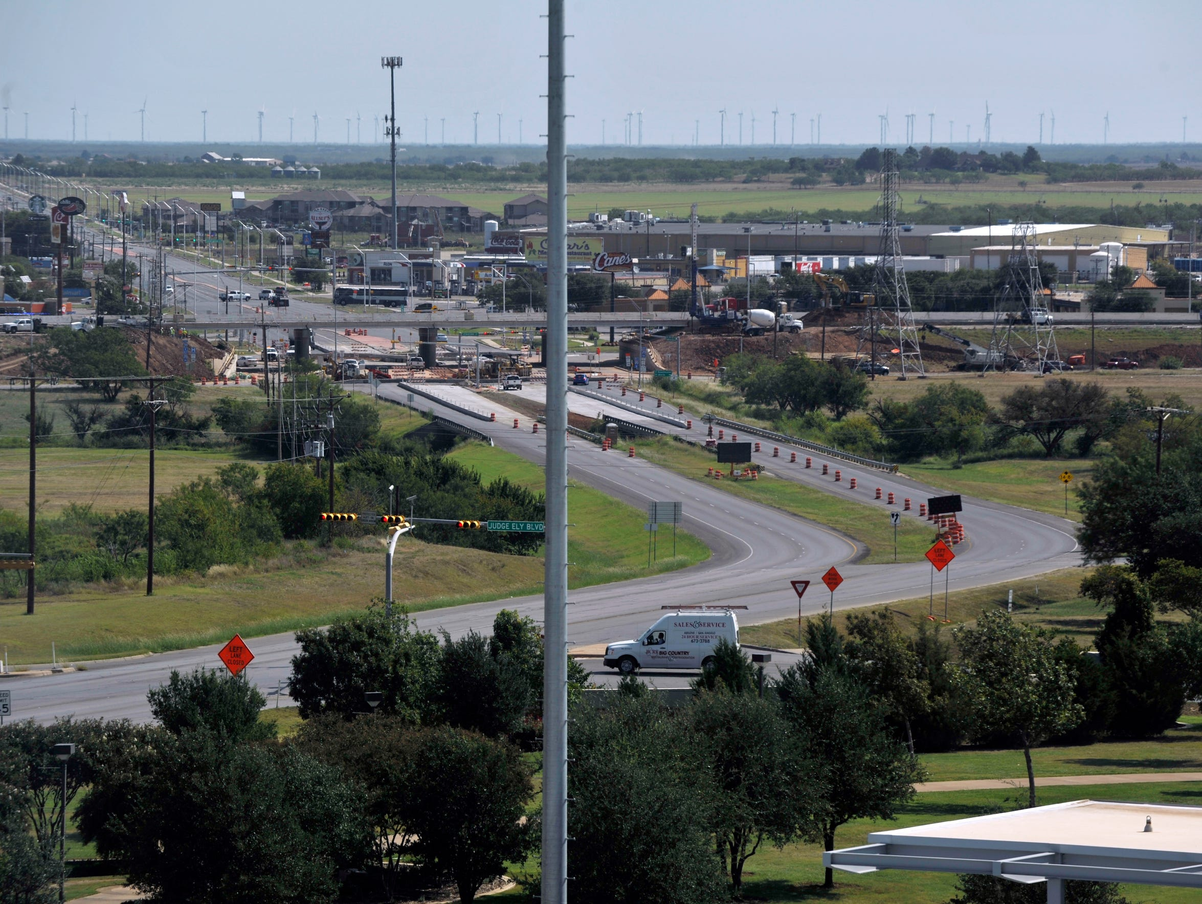 The view of the intersection of State Highway 351 toward Albany from the press box at Chuck Sitton Tower at Abilene Christian University's Wildcat Stadium on Sept. 7.