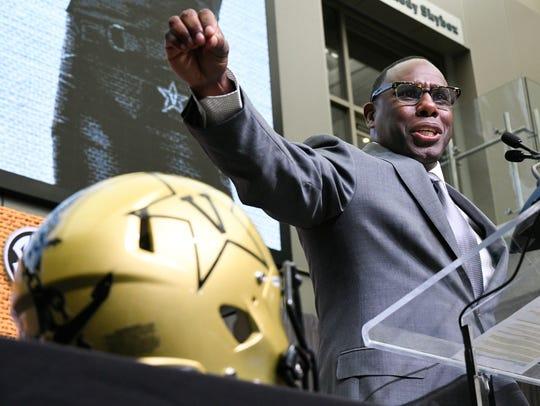 NCAA college football head coach Derek Mason of Vanderbilt