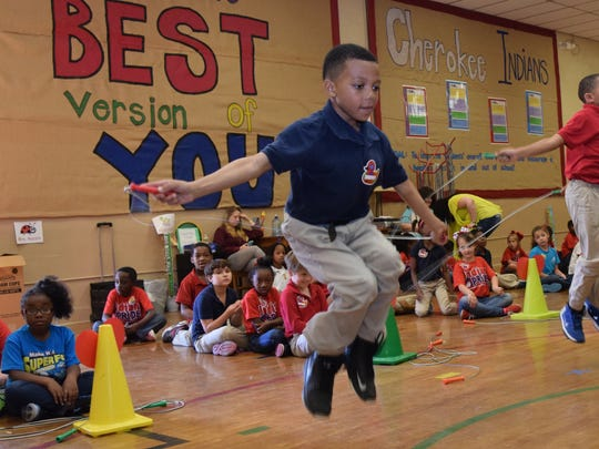 Chandler Hall, a second-grader at Cherokee Elementary School, participates in the school's annual Jump Rope for Heart event Friday. It is a fundraiser for the American Heart Association.