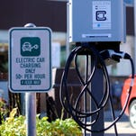A Ferndale charging station goes unused. EVs account for a tiny part of the market.
