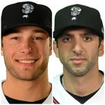 Shane Dawson, left, and Jason Leblebijian were the Midwest League weekly award winners after helping the Lugnuts to a 5-2 record last week.