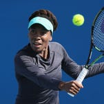 Venus Williams trains in January.