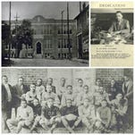 Clockwise, from top left, Burt High School (present location of Burt-Cobb Community Center on Franklin Street) circa 1920s; 1946 Yearbook dedication to Principal G.W. Brooks, who served from 1944-1968; and the Burt High School football team, circa 1920's, showing Burt's first principal, A.M. Gilbert, and history teacher Bailey Cobb at left.