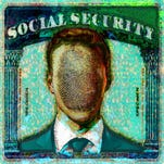 In this illustration about identity theft, a Social Security card has a man's portrait in the middle with a fingerprint on his face.