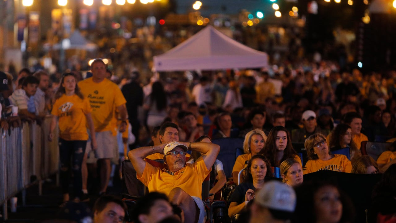 Disappointed fans at Predators Plaza Party