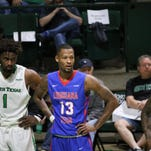 Louisiana Tech's Jacobi Boykins (13) waits at the free-throw line during Saturday's game at North Texas.