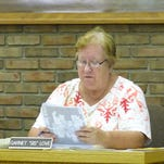 "Bucyrus City Council President Garnet ""Sis"" Love looks over paperwork regarding Americans with Disabilities Act regulation Monday during the city's Health and Safety Committee meeting."