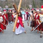 Antonio Perez portrays Jesus at Living Stations of the Cross Holy Week Procession at Holy Angels, Newark.