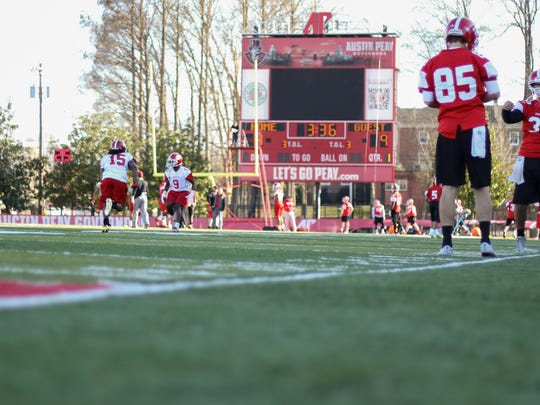 Austin Peay State University football team runs drills