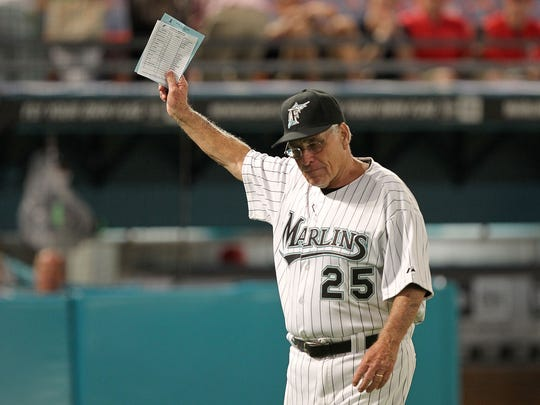 ORG XMIT: 109237435 MIAMI GARDENS, FL - JUNE 20:  New manager of the Florida Marlins Jack McKeon #25 looks on during a game against the Los Angeles Angels of Anaheim at Sun Life Stadium on June 20, 2011 in Miami Gardens, Florida.  (Photo by Mike Ehrmann/Getty Images) ORIG FILE ID: 109237435ME003_LOS_ANGELES_