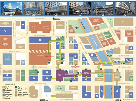 A map of the downtown Milwaukee skywalk system