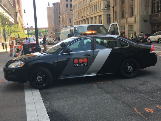 A Securitas vehicle in downtown Detroit in May 2018