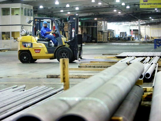 October 10, 2016 - Piping is readied for shipping at the Schulz Xtruded Products facility in Hernando.