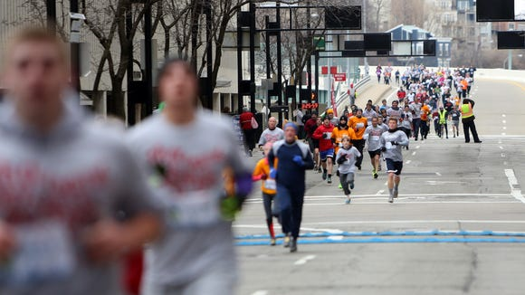 Participants make their way toward the finish line