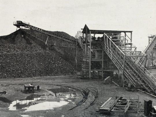 A historical photo of the Eagle Mountain iron mine.