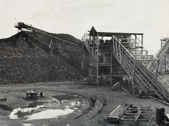 A historical photo of the Eagle Mountain iron mine.