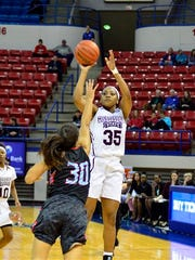 Mississippi State forward Victoria Vivians (35) shoots