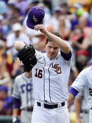 LSU pitcher Jared Poche (16) suffered his first loss of the season on Friday night.