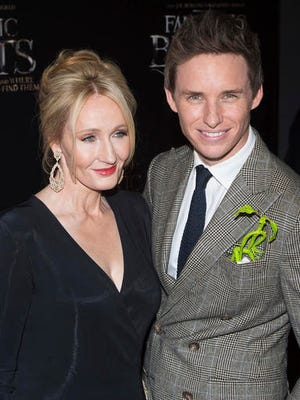 "J. K. Rowling and Eddie Redmayne attend the world premiere of ""Fantastic Beasts and Where To Find Them"" at Alice Tully Hall on Thursday, Nov. 10, 2016, in New York."