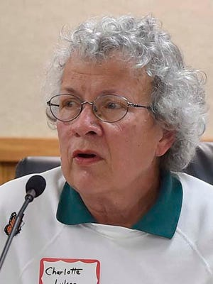 Charlotte Lukes sharing memories of her husband while talking about environmental concerns during an event for Earth Week in April, 2017.