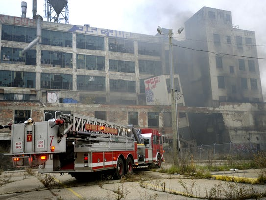 Detroit Fire Department crews respond to a fire at