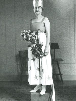 Bessie Bittinger, Miss Columbia, was a participant in the 1925 Adrian Centennial Pageant.