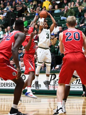 Gian Clavell, CSU's leading scorer, puts up a shot Saturday during a 78-62 victory over Fresno State at  Moby Arena. CSU has won six of its past seven games to move into second place in the Mountain West.