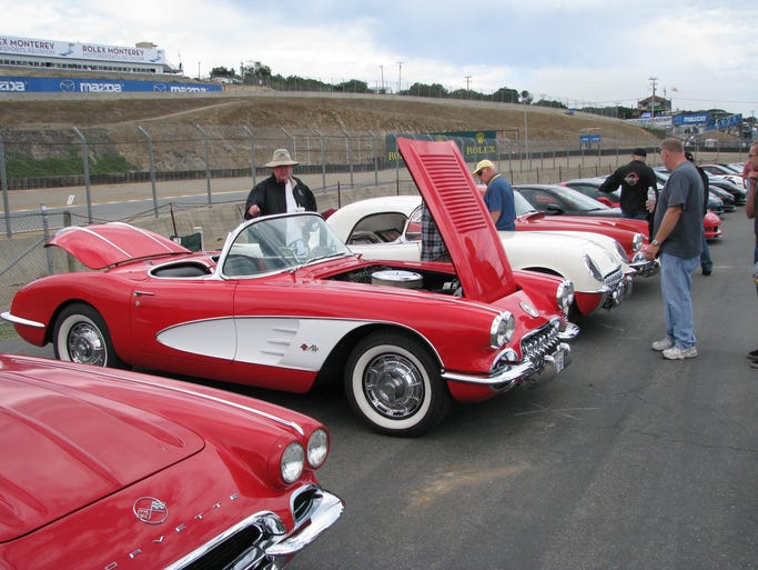 Some of the earliest models of the Chevrolet Corvette are displayed at Mazda Raceway for the Rolex Monterey Motorsports Reunion