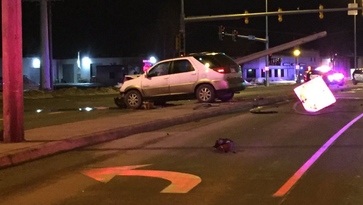 A power line was knocked down after it was hit by a car near Russell Street and Prairie Avenue on Saturday night.