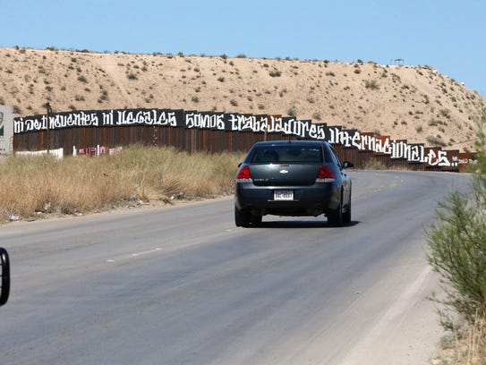 A message written on the Mexican side of the border