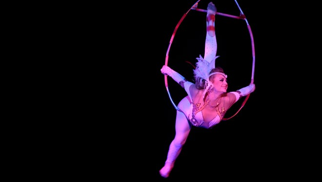 Catherine Hanneford performs a high wire act at the Royal Hanneford Circus at the Westchester County Center in White Plains on Feb. 14, 2016.