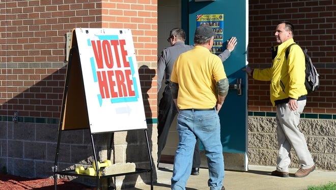 Voters at Selbyville Middle School show up to weigh in on the Indian River Referendum. Thursday, March. 2, 2017.
