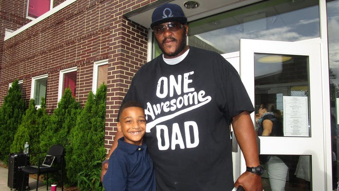 "Cory Durham Sr. and Cory Durham Jr. at ""Walk and Talk With Dads Day"" at School 2 in Linden."