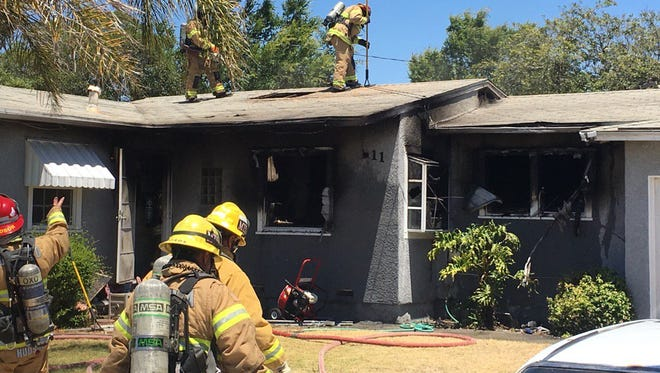 Firefighters from the Oxnard Fire Department and Ventura County Fire Department knocked down a house fire that displaced three residents on Saturday.