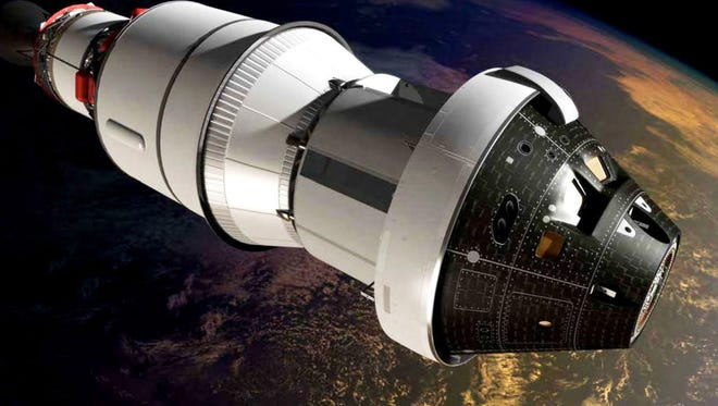 An artist's impression of the first Orion spacecraft in orbit attached to a Delta IV Upper Stage during Exploration Flight Test-