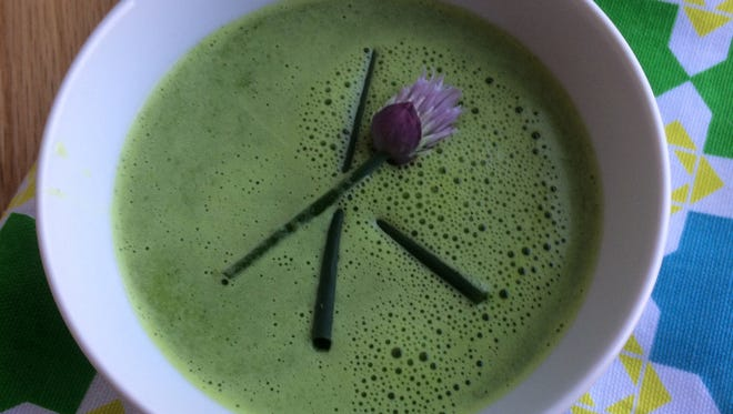 Three spring favorites--asparagus, chives and pea shoots--combine in this pureed soup,