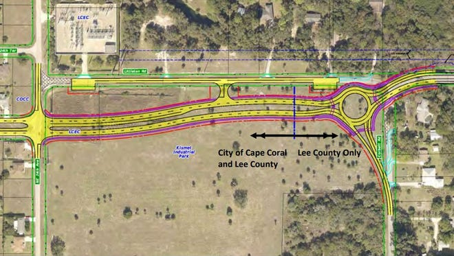 A screenshot of a presentation from the city, county and AIM Engineering & Surveying, Inc. shows the proposed realignment of Littleton Road and Kismet Parkway and roundabout at Corbett Road.