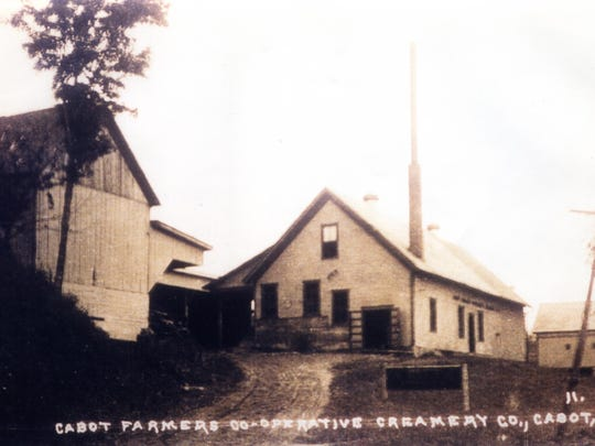 An old-time photo of the Cabot Cooperative Creamery.