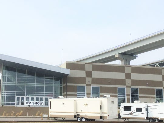 RVs outfront of Port Huron Camper & RV Show.