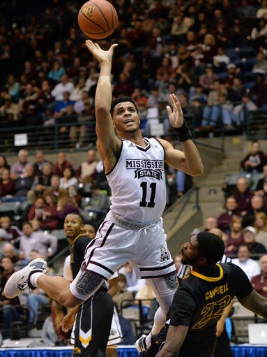 Mississippi State's Quinndary Weatherspoon(11) shoots